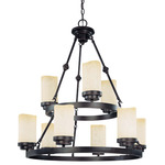(9 CFL) Chandelier - Patina Bronze / Saddle Stone Glass - Energy Star Qualified - Nuvo Lighting 60-3849