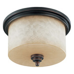 (3 CFL) Flush Mount Ceiling Fixture - Patina Bronze / Saddle Stone Glass - Energy Star Qualified - Nuvo Lighting 60-3851 - Residential Light Fixture