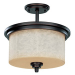 (3 CFL) Semi-Flush Ceiling Fixture - Patina Bronze / Saddle Stone Glass - Energy Star Qualified - Nuvo Lighting 60-3852 - Residential Light Fixture