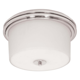 (2 CFL) Flush Mount Ceiling Fixture - Polished Chrome / Satin White Glass - Energy Star Qualified - Nuvo Lighting 60-3862