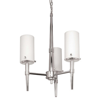 (3 CFL) Chandelier - Polished Chrome / Satin White Glass - Energy Star Qualified - Nuvo Lighting 60-3863 - Residential Light Fixture