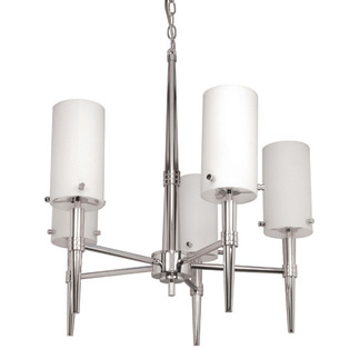 (5 CFL) Chandelier - Polished Chrome / Satin White Glass - Energy Star Qualified - Nuvo Lighting 60-3865