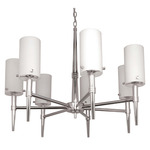 (7 CFL) Chandelier - Polished Chrome / Satin White Glass - Energy Star Qualified - Nuvo Lighting 60-3866