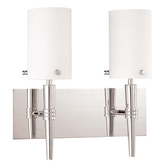 (2 CFL) Wall Vanity - Polished Chrome / Satin White Glass - Energy Star Qualified - Nuvo Lighting 60-3867