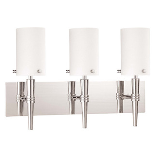 (3 CFL) Wall Vanity - Polished Chrome / Satin White Glass - Energy Star Qualified - Nuvo Lighting 60-3868
