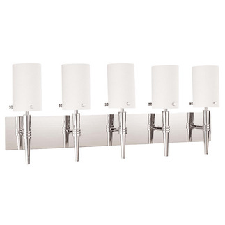 (5 CFL) Wall Vanity - Polished Chrome / Satin White Glass - Energy Star Qualified - Nuvo Lighting 60-3870