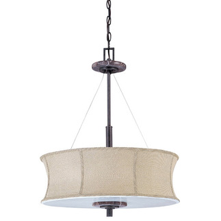 (4 CFL) Pendant - Ledgestone / Grey Fabric - Energy Star Qualified - Nuvo Lighting 60-3873