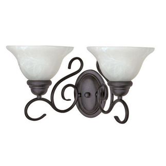 (2 Light) Wall Fixture - Textured Black / Alabaster Swirl Glass - Nuvo Lighting 60-388