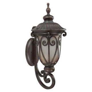 (1 CFL) (Arm Up) Large Wall Lantern - Burlwood / Clear Seed - Energy Star Qualified - Nuvo Lighting 60-3921