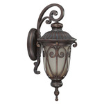 (1 CFL) (Arm Down) Large Wall Lantern - Burlwood / Clear Seed - Energy Star Qualified - Nuvo Lighting 60-3922