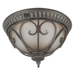 (2 CFL) Flush Mount - Burlwood / Clear Seed - Energy Star Qualified - Nuvo Lighting 60-3927