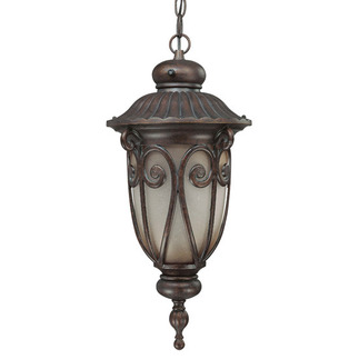 (1 CFL) Hanging Lantern - Burlwood / Clear Seed - Energy Star Qualified - Nuvo Lighting 60-3928