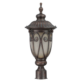 (1 CFL) Medium Post Lantern - Burlwood / Clear Seed - Energy Star Qualified - Nuvo Lighting 60-3929 - Residential Light Fixture