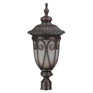 (1 CFL) Large Post Lantern - Burlwood / Clear Seed - Energy Star Qualified - Nuvo Lighting 60-3931