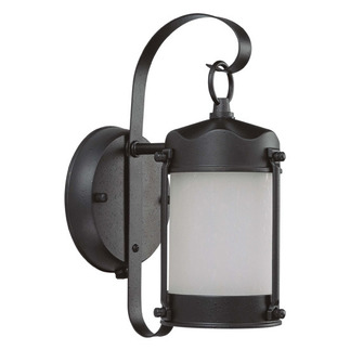 (1 CFL) Piper Outdoor Wall Fixture - Textured Black / Frosted Glass - Energy Star Qualified - Nuvo Lighting 60-3946