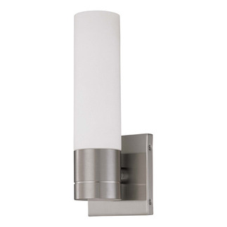 (1 CFL) Tube Wall Sconce - Brushed Nickel / White Glass - Energy Star Qualified - Nuvo Lighting 60-3953