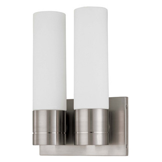 (2 CFL) (Twin) Tube Wall Sconce - Brushed Nickel / White Glass - Energy Star Qualified - Nuvo Lighting 60-3957