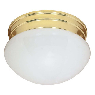 (2 CFL) - Medium Mushroom Ceiling Fixture - Polished Brass / White Glass - Energy Star Qualified - Nuvo Lighting 60-401