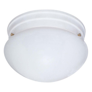 (2 CFL) - Medium Mushroom Ceiling Fixture - Smooth White / White Glass - Energy Star Qualified - Nuvo Lighting 60-403