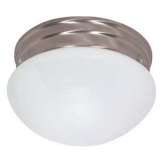 (2 CFL) - Medium Mushroom Ceiling Fixture - Brushed Nickel / White Glass - Energy Star Qualified - Nuvo Lighting 60-405 - Residential Light Fixture
