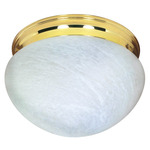 (2 CFL) - Large Mushroom Ceiling Fixture - Polished Brass / Alabaster Glass - Energy Star Qualified - Nuvo Lighting 60-410