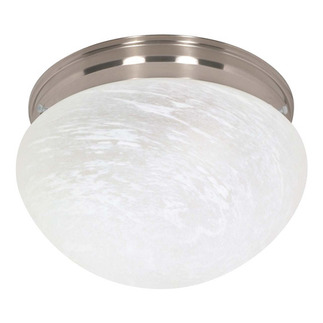 (2 CFL) - Large Mushroom Ceiling Fixture - Brushed Nickel / Alabaster Glass - Energy Star Qualified - Nuvo Lighting 60-414 - Residential Light Fixture
