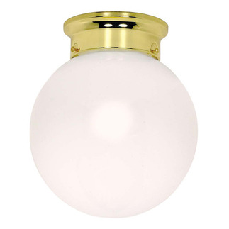 (1 CFL) - Ceiling Mount Ball Fixture - Polished Brass / White Glass - Energy Star Qualified - Nuvo Lighting 60-431