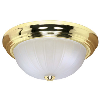 (2 CFL) - Flush Mount Ceiling Fixture - Polished Brass / Frosted Melon Glass - Energy Star Qualified - Nuvo Lighting 60-440