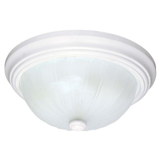 (2 CFL) - Flush Mount Ceiling Fixture - Smooth White / Frosted Melon Glass - Energy Star Qualified - Nuvo Lighting 60-444