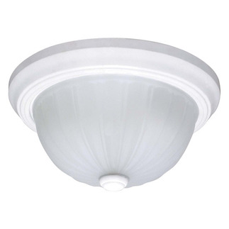 (3 CFL) - Flush Mount Ceiling Fixture - Smooth White / Frosted Melon Glass - Energy Star Qualified - Nuvo Lighting 60-445