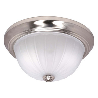 (2 CFL) - Flush Mount Ceiling Fixture - Brushed Nickel / Frosted Melon Glass - Energy Star Qualified - Nuvo Lighting 60-448