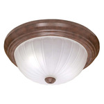 (2 CFL) - Flush Mount Ceiling Fixture - Old Bronze / Frosted Melon Glass - Energy Star Qualified - Nuvo Lighting 60-450