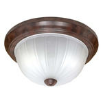 (3 CFL) - Flush Mount Ceiling Fixture - Old Bronze / Frosted Melon Glass - Energy Star Qualified - Nuvo Lighting 60-451
