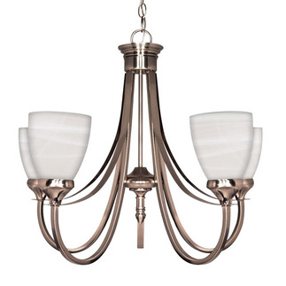 (5 CFL) Chandelier - Brushed Nickel / Sculptured Alabaster Glass - Energy Star Qualified - Nuvo Lighting 60-460