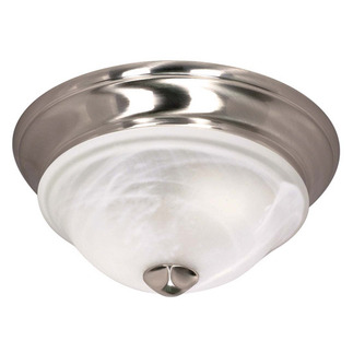 (2 CFL) - Flush Mount Ceiling Fixture - Brushed Nickel / Sculptured Alabaster Glass - Energy Star Qualified - Nuvo Lighting 60-461