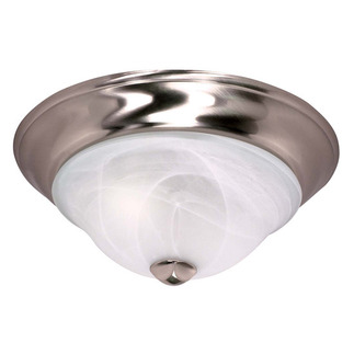 (2 CFL) - Flush Mount Ceiling Fixture - Brushed Nickel / Sculptured Alabaster Glass - Energy Star Qualified - Nuvo Lighting 60-462