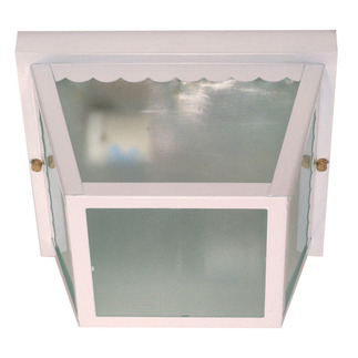 (2 Light) Carport Flush Mount - White / Texture Frosted Glass - Nuvo Lighting 60-470