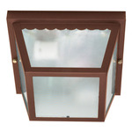 (2 Light) Carport Flush Mount - Old Bronze / Texture Frosted Glass - Nuvo Lighting 60-472