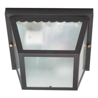 (2 Light) Carport Flush Mount - Black / Textured Frosted Glass - Nuvo Lighting 60-473