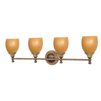 (4 Light) Vanity - Dorado Bronze / Sepia Colored Glass - Nuvo Lighting 60-474 - Residential Light Fixture
