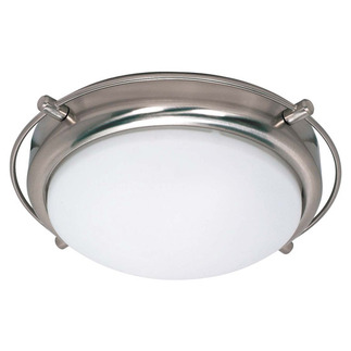 (2 CFL) - Flush Mount Ceiling Fixture - Brushed Nickel / Opal White Glass - Energy Star Qualified - Nuvo Lighting 60-491