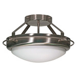 (2 CFL) - Semi-Flush Ceiling Fixture - Brushed Nickel / Opal White Glass - Energy Star Qualified - Nuvo Lighting 60-492