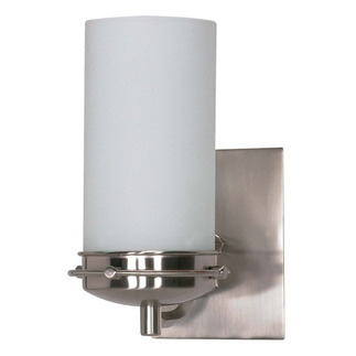 (1 CFL) Vanity - Brushed Nickel / Opal White Glass - Energy Star Qualified - Nuvo Lighting 60-494