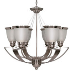 (6 CFL) Chandelier - Smoked Nickel / Satin Frosted Glass - Energy Star Qualified - Nuvo Lighting 60-500