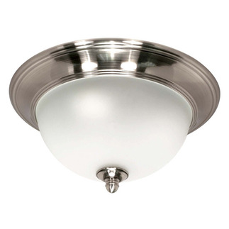 (2 CFL) - Flush Mount Ceiling Fixture - Smoked Nickel / Satin Frosted Glass - Energy Star Qualified - Nuvo Lighting 60-501 - Residential Light Fixture