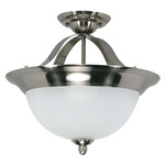(2 CFL) - Semi-Flush Ceiling Fixture - Smoked Nickel / Satin Frosted Glass - Nuvo Lighting 60-504