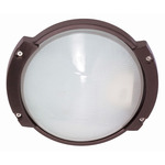 (1 Light) Oblong Round Bulk Head - Architectural Bronze / Frosted Glass - Nuvo Lighting 60-517