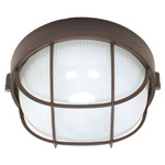 (1 Light) Round Cage Bulk Head - Architectural Bronze / Frosted Glass - Nuvo Lighting 60-519 - Residential Light Fixture