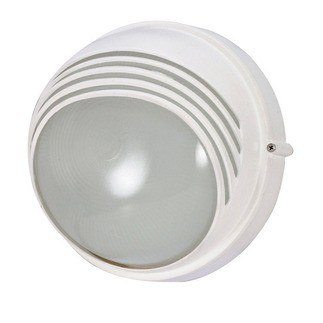 (1 Light) Round Hood Bulk Head - Semi Gloss White / Frosted - Nuvo Lighting 60-520