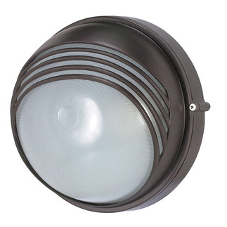 (1 Light) Round Hood Bulk Head - Architectural Bronze / Frosted Glass - Nuvo Lighting 60-521